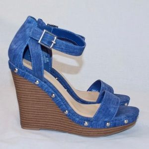 Blue Jean Wedges w/ Silver Accents